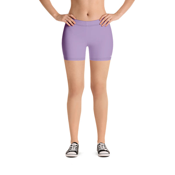 Pastel Purple Women's Shorts, Solid Color Modern Essentials Designer Women's Elastic Stretchy Shorts Short Tights -Made in USA/EU/MX (US Size: XS-3XL) Plus Size Available, Tight Pants, Pants and Tights, Womens Shorts, Short Yoga Pants