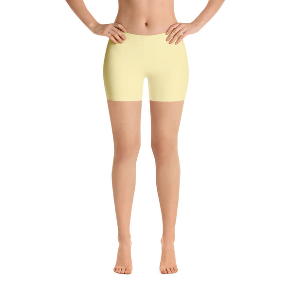 Pastel Yellow Women's Shorts, Light Yellow Solid Color Modern Essentials Designer Women's Elastic Stretchy Shorts Short Tights -Made in USA/EU/MX (US Size: XS-3XL) Plus Size Available, Tight Pants, Pants and Tights, Womens Shorts, Short Yoga Pants