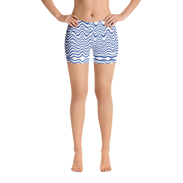 White Blue Curvy Shorts, Abstract Wavy Women's Elastic Stretchy Shorts Short Tights -Made in USA/EU/MX (US Size: XS-3XL) Plus Size Available, Tight Pants, Pants and Tights, Womens Shorts, Short Yoga Pants