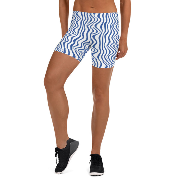 Blue Curvy Women's Shorts, Best White Abstract Wavy Women's Elastic Stretchy Shorts Short Tights -Made in USA/EU/MX (US Size: XS-3XL) Plus Size Available, Tight Pants, Pants and Tights, Womens Shorts, Short Yoga Pants