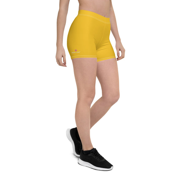 Yellow Solid Color Women's Shorts, Elastic Solid Color Women's Elastic Stretchy Shorts Short Tights -Made in USA/EU/MX (US Size: XS-3XL) Plus Size Available, Tight Pants, Pants and Tights, Womens Shorts, Short Yoga Pants