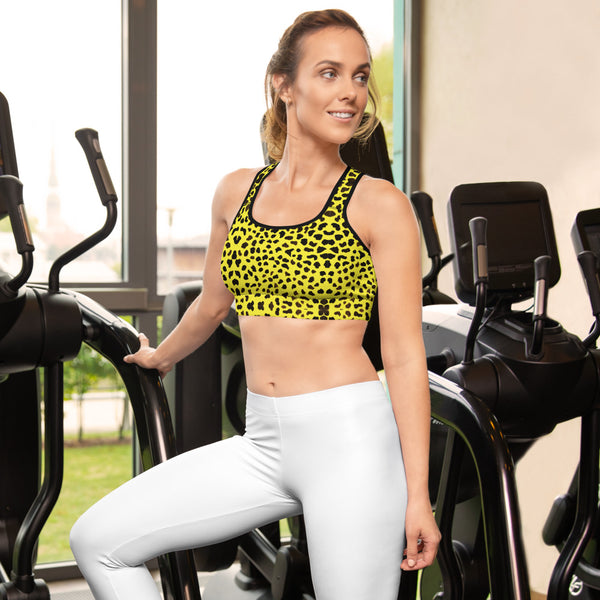 Yellow Leopard Women's Sports Bra, Animal Print Cute Ladies Workout Girlie Women's Fitness Workout Bra, Padded Yoga Gym Workout Sports Bra For Female Athletes - Made in USA/ EU/ MX (US Size: XS-2XL)