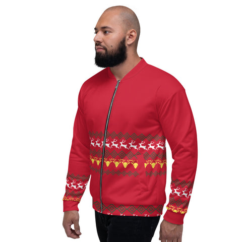 Christmas Red Unisex Bomber Jacket, Modern Premium Reindeer Fleece Jacket, Modern Premium Quality Modern Unisex Jacket For Men/Women With Pockets-Made in EU