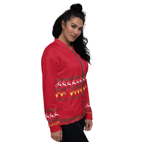 Christmas Red Unisex Bomber Jacket, Red Modern Premium Reindeer Fleece Jacket, Modern Premium Quality Modern Unisex Jacket For Men/Women With Pockets-Made in EU