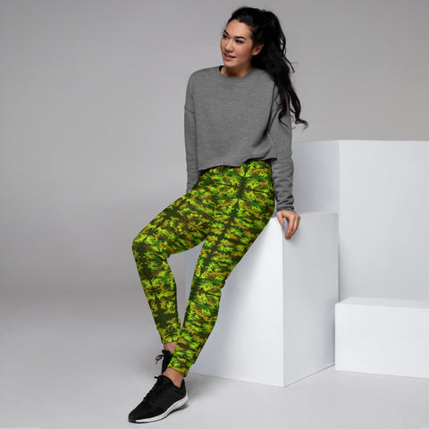 Green Yellow Camo Women's Joggers - Heidikimurart Limited  Green Yellow Army Women's Joggers, Military Camouflage Camo Print Premium Printed Slit Fit Soft Women's Joggers Sweatpants -Made in EU/MX (US Size: XS-3XL) Plus Size Available, Women's Joggers, Soft Joggers Pants Womens, Premium Quality Jogger Pants, Best Patterned Print Jogger Sweatpants