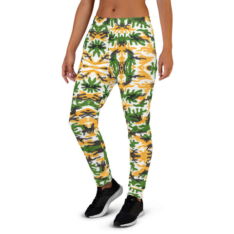 Green Yellow Army Women's Joggers, Camouflage Camo Print Premium Printed Slit Fit Soft Women's Joggers Sweatpants -Made in EU/MX (US Size: XS-3XL) Plus Size Available, Animal Print Women's Joggers, Soft Joggers Pants Womens, Leopard Jogger Pants, Animal Print Jogger Sweatpants
