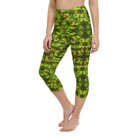 Green Camo Ladies' Tights, Women's Military Green Camouflage Print Yoga Capri Yoga Pants Leggings Tights- Made in USA/EU/MX (US Size: XS-XL)