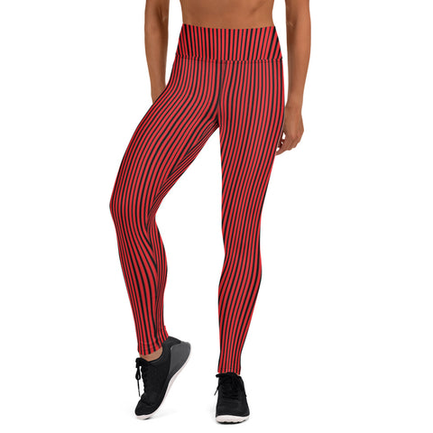 Red Black Striped Yoga Leggings, Vertically Stripes Modern Women's Gym Workout Active Wear Fitted Leggings Sports Long Yoga & Barre Pants - Made in USA/EU/MX (US Size: XS-6XL)