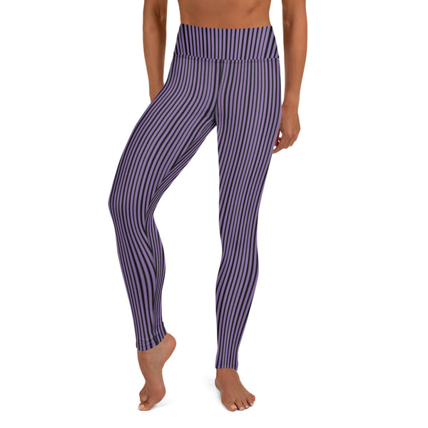 Purple Striped Women's Yoga Leggings-Heidikimurart Limited -XS-Heidi Kimura Art LLC Purple Striped Long Yoga Leggings, Vertical Stripes Modern Women's Gym Workout Active Wear Fitted Leggings Sports Long Yoga & Barre Pants - Made in USA/EU/MX (US Size: XS-6XL)  These are super soft, stretchy and comfo