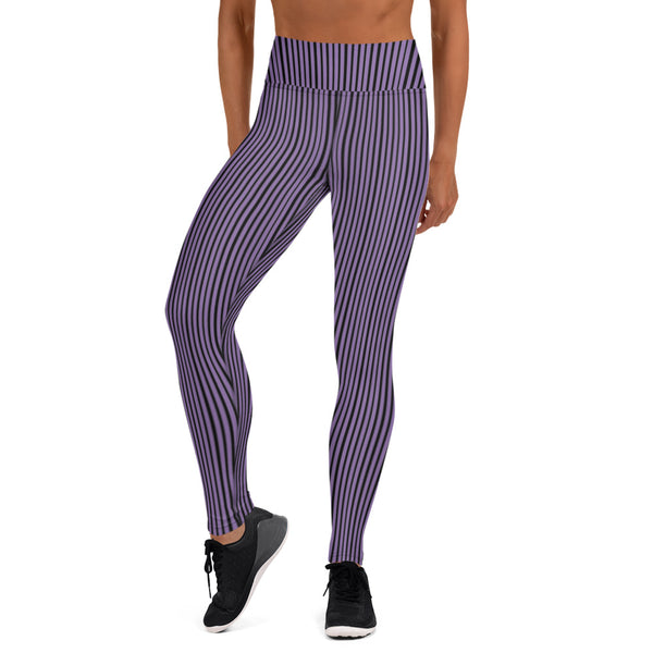 Purple Striped Women's Yoga Leggings-Heidikimurart Limited -Heidi Kimura Art LLC Purple Striped Long Yoga Leggings, Vertical Stripes Modern Women's Gym Workout Active Wear Fitted Leggings Sports Long Yoga & Barre Pants - Made in USA/EU/MX (US Size: XS-6XL)  These are super soft, stretchy and comfo