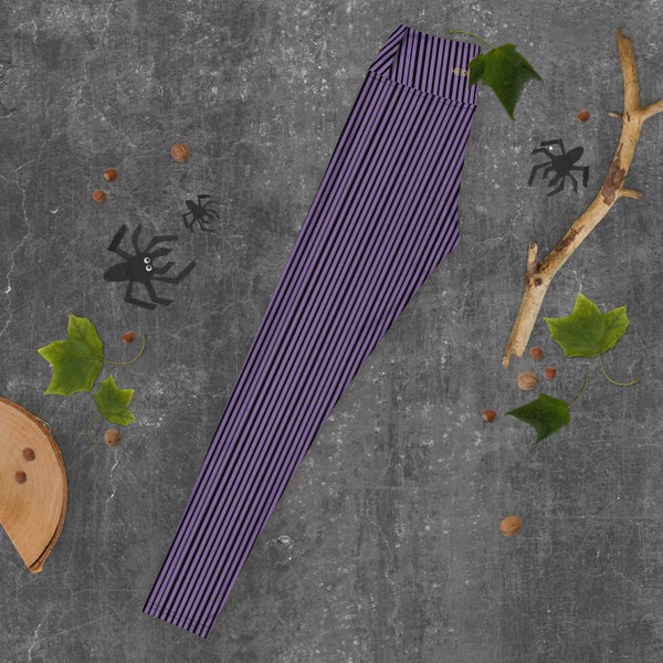Purple Striped Women's Yoga Leggings-Heidikimurart Limited -Heidi Kimura Art LLCPurple Striped Long Yoga Leggings, Vertical Stripes Modern Women's Gym Workout Active Wear Fitted Leggings Sports Long Yoga & Barre Pants - Made in USA/EU/MX (US Size: XS-6XL)  These are super soft, stretchy and comfo