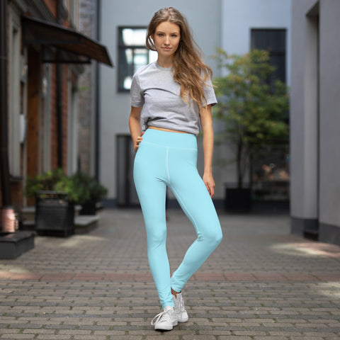 Light Blue Yoga Leggings, Pastel Blue Luxury Women's Solid Color Yoga Leggings, Light Blue Athletic Solid Color Active Wear Fitted Leggings Sports Long Yoga & Barre Pants - Made in USA/EU/MX (US Size: XS-6XL)