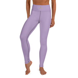 Solid Purple Color Yoga Leggings, Light Pale Purple Women's Long Tights-Made in USA/EU/MX-Leggings-Printful-XS-Heidi Kimura Art LLC