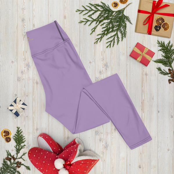 Solid Purple Color Yoga Leggings, Light Pale Purple Women's Long Tights-Made in USA/EU/MX-Leggings-Printful-Heidi Kimura Art LLC