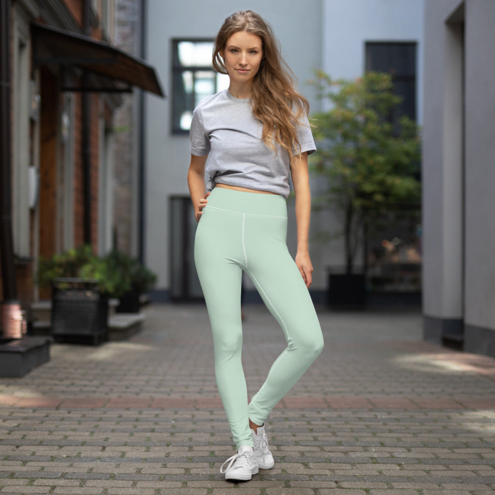 Pale Green Yoga Leggings, Cream Green Solid Color Active Wear Fitted Leggings Sports Long Yoga & Barre Pants - Made in USA/EU/MX (US Size: XS-6XL)