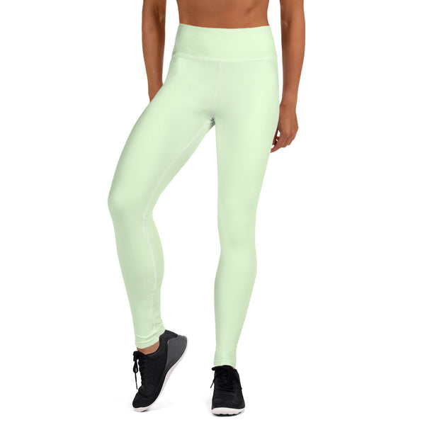 Light Green Yoga Leggings, Best Pastel Green Light Grey Color Yoga Leggings, Best Ladies Yoga Leggings, Athletic Solid Color Active Wear Fitted Leggings Sports Long Yoga & Barre Pants - Made in USA/EU/MX (US Size: XS-6XL)