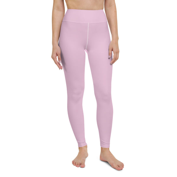 Soft Pink Women's Yoga Leggings, Best Pale Pink Solid Color Active Wear Fitted Leggings Sports Long Yoga & Barre Pants - Made in USA/EU/MX (US Size: XS-6XL)