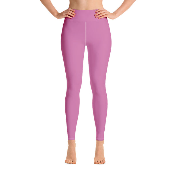 Soft Pink Women's Leggings, Women's Pink Solid Color Active Wear Fitted Leggings Sports Long Yoga & Barre Pants - Made in USA/EU/MX (US Size: XS-6XL)