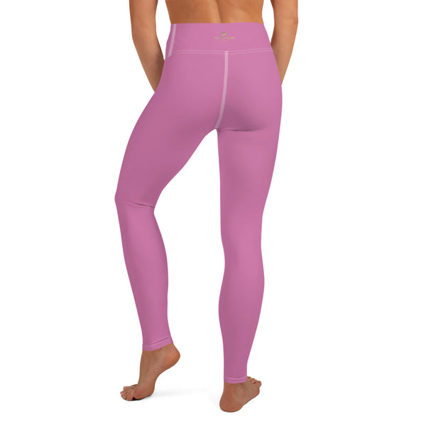 Pink Solid Color Yoga Leggings, Best Soft Pink Long Gym Workout Tights-Made in USA/EU/MX-Leggings-Printful-Heidi Kimura Art LLC
