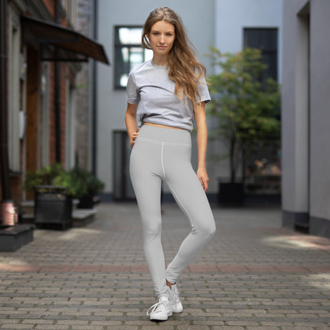 Light Grey Color Yoga Leggings, Solid Color Gray Solid Color Yoga Leggings, Light Grey Athletic Solid Color Active Wear Fitted Leggings Sports Long Yoga & Barre Pants - Made in USA/EU/MX (US Size: XS-6XL)