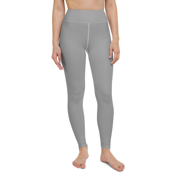 Light Grey Solid Yoga Leggings, Pastel Gray Color Yoga Leggings, Light Grey Athletic Solid Color Active Wear Fitted Leggings Sports Long Yoga & Barre Pants - Made in USA/EU/MX (US Size: XS-6XL)