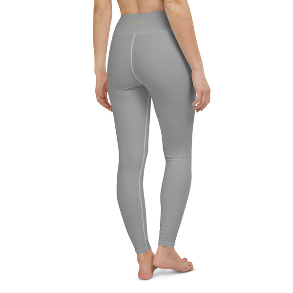 Light Grey Solid Yoga Leggings, Pastel Gray Color Women's Long Tights-Made in USA/EU/MX