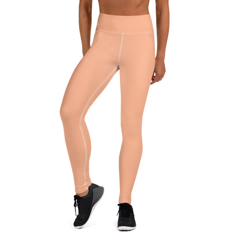 Pink Nude Color Yoga Leggings, Solid Color Pastel Long Athletic Women's Active Wear Fitted Leggings Sports Long Yoga & Barre Pants - Made in USA/EU/MX (US Size: XS-6XL)