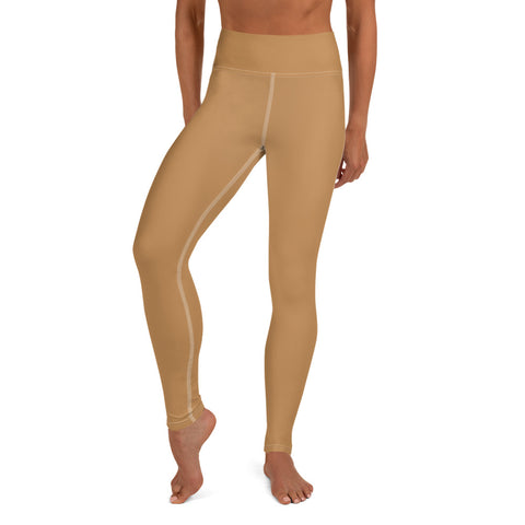 Nude Beige Women's Yoga Leggings-Heidikimurart Limited -XS-Heidi Kimura Art LLC Nude Beige Women's Yoga Leggings, Solid Color Long Modern Women's Gym Workout Active Wear Fitted Leggings Sports Long Yoga & Barre Pants - Made in USA/EU/MX (US Size: XS-6XL)