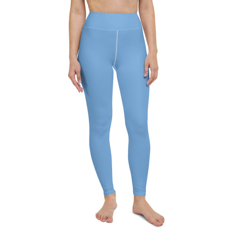 Pastel Blue Women's Yoga Leggings-Heidikimurart Limited -XS-Heidi Kimura Art LLC Pastel Blue Women's Yoga Leggings, Solid Blue Color Long Modern Women's Gym Workout Active Wear Fitted Leggings Sports Long Yoga & Barre Pants - Made in USA/EU/MX (US Size: XS-6XL)