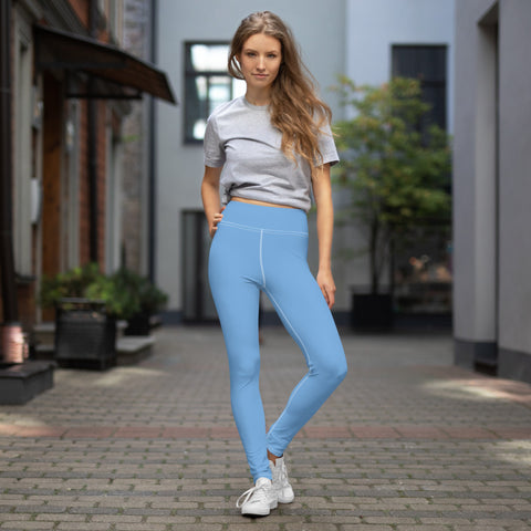 Blue Solid Color Yoga Leggings, Light Baby Blue Athletic Solid Color Active Wear Fitted Leggings Sports Long Yoga & Barre Pants - Made in USA/EU/MX (US Size: XS-6XL)