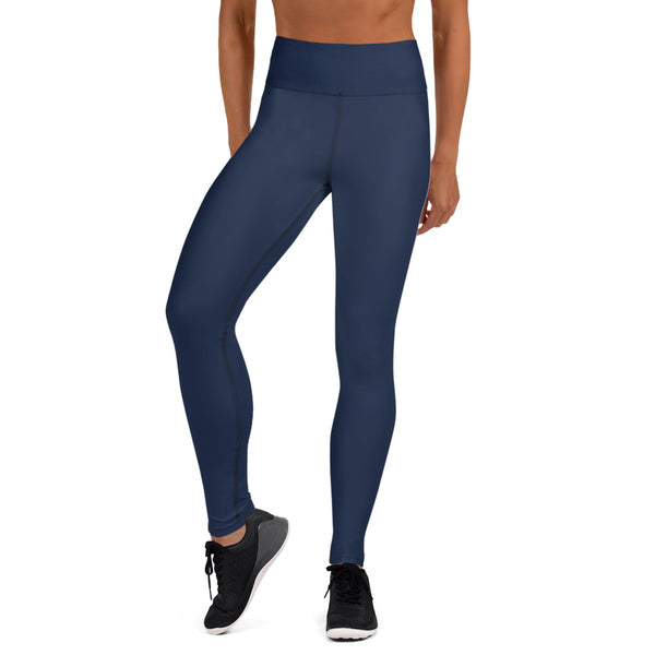 Navy Blue Solid Yoga Leggings-Heidikimurart Limited -Heidi Kimura Art LLC