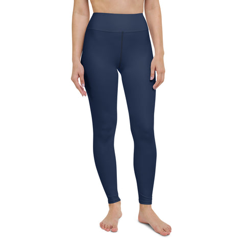 Dark Blue Color Long Tights, Solid Color Navy Blue Women's  Yoga Leggings, Light Grey Athletic Solid Color Active Wear Fitted Leggings Sports Long Yoga & Barre Pants - Made in USA/EU/MX (US Size: XS-6XL)