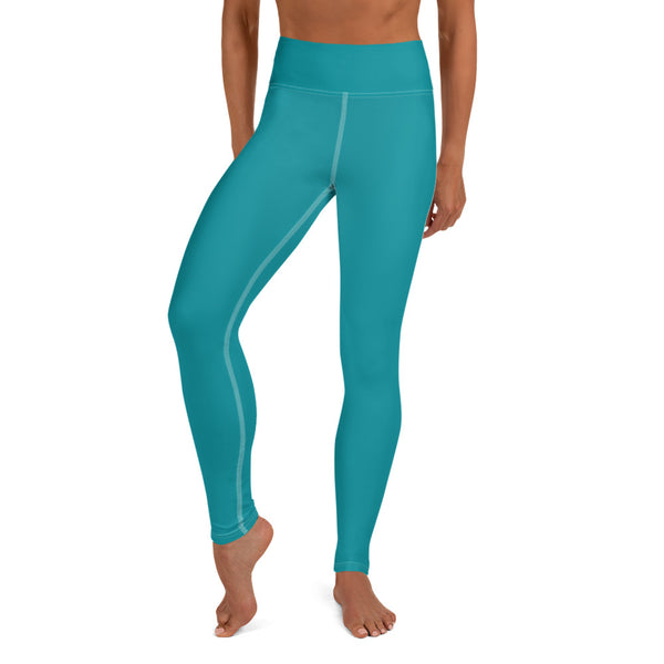 Teal Blue Women's Yoga Leggings-Heidikimurart Limited -XS-Heidi Kimura Art LLC