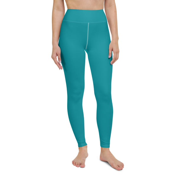 Teal Blue Women's Yoga Leggings-Heidikimurart Limited -Heidi Kimura Art LLC