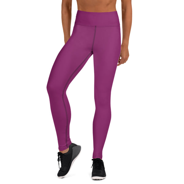 Hot Purple Women's Yoga Leggings, Best Royal Purple Yoga Leggings, Light Purple Athletic Solid Color Active Wear Fitted Leggings Sports Long Yoga & Barre Pants - Made in USA/EU/MX (US Size: XS-6XL)