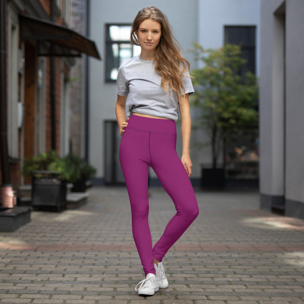 Hot Purple Women's Yoga Leggings-Heidikimurart Limited -Heidi Kimura Art LLC