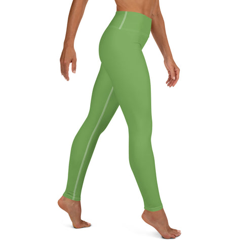 Light Green Women's Yoga Leggings, Best Premium Quality Yoga Leggings, Athletic Solid Color Active Wear Fitted Leggings Sports Long Yoga & Barre Pants - Made in USA/EU/MX (US Size: XS-6XL)