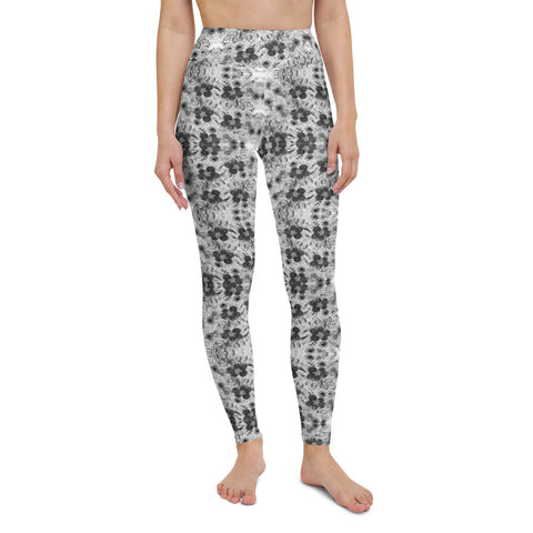 Grey Floral Print Yoga Leggings-Heidikimurart Limited -Heidi Kimura Art LLC Grey Floral Print Yoga Leggings, Abstract Rose Flower Floral Print Modern Women's Gym Workout Active Wear Fitted Leggings Sports Long Yoga & Barre Pants - Made in USA/EU/MX (US Size: XS-6XL)