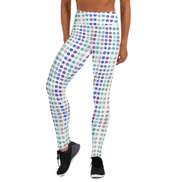 Polka Dots Women's Yoga Leggings-Heidikimurart Limited -Heidi Kimura Art LLC Polka Dots Women's Yoga Leggings, Watercolor Dotted Modern Women's Gym Workout Active Wear Fitted Leggings Sports Long Yoga & Barre Pants - Made in USA/EU/MX (US Size: XS-6XL)
