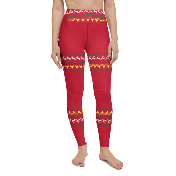 Christmas Red Reindeer Yoga Leggings, Christmas Leggings Active Wear, Christmas Yoga Leggings, Fitted Leggings Sports Long Yoga & Barre Pants - Made in USA/EU/MX (US Size: XS-6XL)