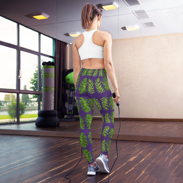 Purple Tropical Leaf Print Yoga Leggings