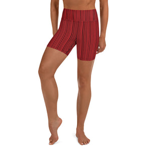 Black Striped Women's Yoga Shorts-Heidikimurart Limited -XS-Heidi Kimura Art LLC Black Striped Women's Yoga Shorts, Red Modern Gym Bestselling Women's Sexy Premium Quality Yoga Shorts, Gym Fitness Tights, Short Workout Hot Pants, Made in USA/ EU/ MX (US Size: XS-XL)