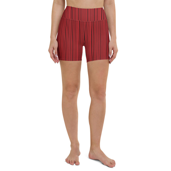 Black Striped Women's Yoga Shorts-Heidikimurart Limited -Heidi Kimura Art LLC Black Striped Women's Yoga Shorts, Red Modern Gym Bestselling Women's Sexy Premium Quality Yoga Shorts, Gym Fitness Tights, Short Workout Hot Pants, Made in USA/ EU/ MX (US Size: XS-XL)