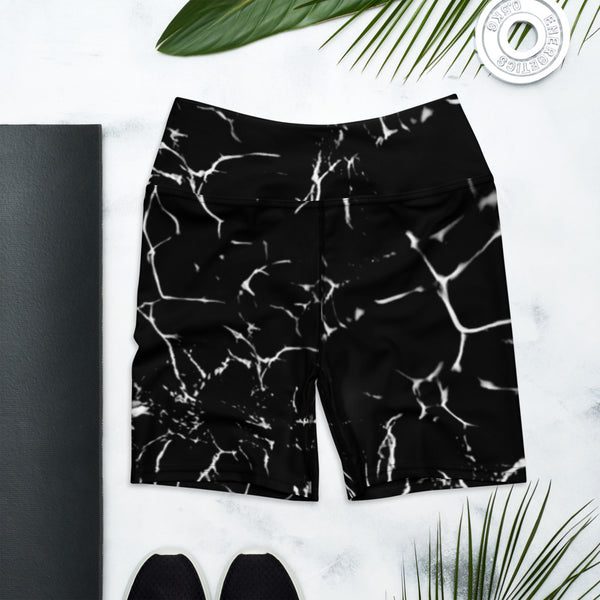 Black Marble Print Yoga Shorts-Heidikimurart Limited -XS-Heidi Kimura Art LLC Black Marbled Yoga Shorts, Marble Print Best Bestselling Women's Sexy Premium Quality Yoga Shorts, Gym Fitness Tights, Short Workout Hot Pants, Made in USA/ EU/ MX  (US Size: XS-XL)
