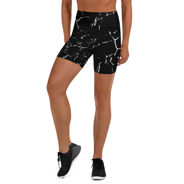 Black Marble Print Yoga Shorts-Heidikimurart Limited -Heidi Kimura Art LLC Black Marbled Yoga Shorts, Marble Print Best Bestselling Women's Sexy Premium Quality Yoga Shorts, Gym Fitness Tights, Short Workout Hot Pants, Made in USA/ EU/ MX  (US Size: XS-XL)