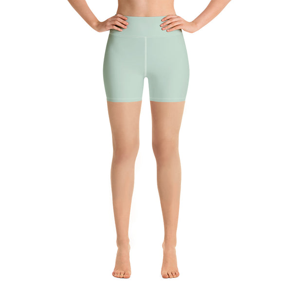 Light Green Women's Yoga Shorts-Heidikimurart Limited -XS-Heidi Kimura Art LLC Light Green Women's Yoga Shorts, Pastel Solid Color Designer Best Bestselling Women's Sexy Premium Quality Yoga Shorts, Gym Fitness Tights, Short Workout Hot Pants, Made in USA/ EU/ MX(US Size: XS-XL)