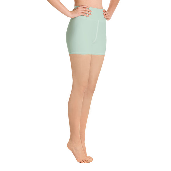 Light Green Women's Yoga Shorts-Heidikimurart Limited -Heidi Kimura Art LLC Light Green Women's Yoga Shorts, Pastel Solid Color Designer Best Bestselling Women's Sexy Premium Quality Yoga Shorts, Gym Fitness Tights, Short Workout Hot Pants, Made in USA/ EU/ MX(US Size: XS-XL)