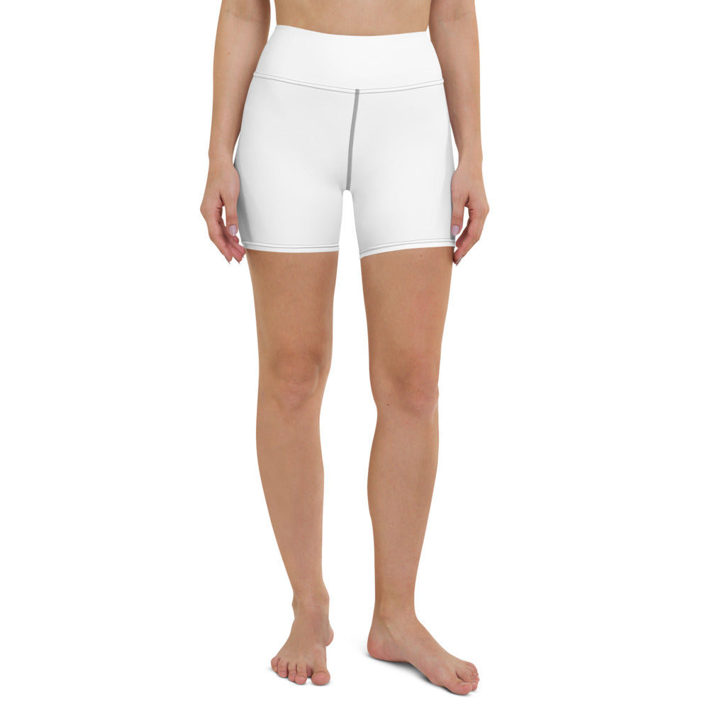 Solid White Yoga Shorts-Heidikimurart Limited -XS-Heidi Kimura Art LLC Solid White Yoga Shorts, Designer Modern Titanium White Workout Gym Tights, Premium Quality Women's High Waist Spandex Fitness Workout Yoga Shorts, Yoga Tights, Fashion Gym Quick Drying Short Pants With Pockets - Made in USA/EU/MX (US Size: XS-XL) Yoga Bottoms, Yoga Clothes, Activewear, Best Women's Yoga Shorts, Women's Athletic Shorts, Running, Workout, Yoga Tights