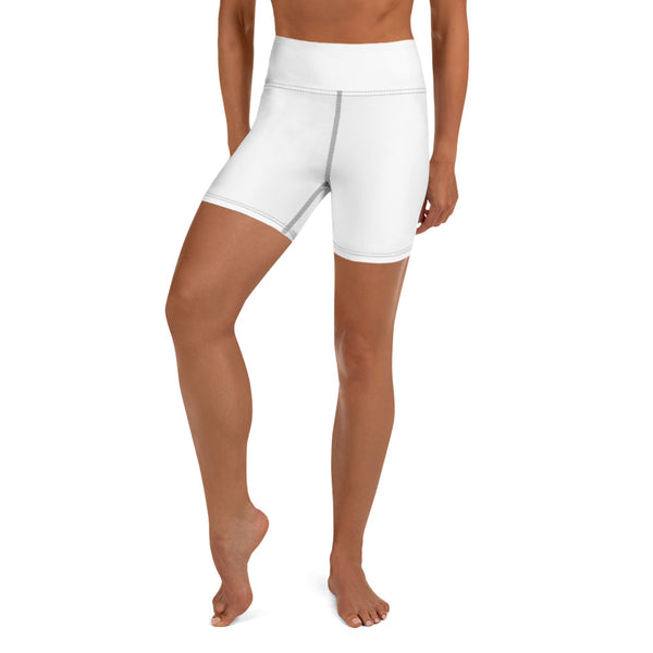 Solid White Yoga Shorts-Heidikimurart Limited -Heidi Kimura Art LLC Solid White Yoga Shorts, Designer Modern Titanium White Workout Gym Tights, Premium Quality Women's High Waist Spandex Fitness Workout Yoga Shorts, Yoga Tights, Fashion Gym Quick Drying Short Pants With Pockets - Made in USA/EU/MX (US Size: XS-XL) Yoga Bottoms, Yoga Clothes, Activewear, Best Women's Yoga Shorts, Women's Athletic Shorts, Running, Workout, Yoga Tights