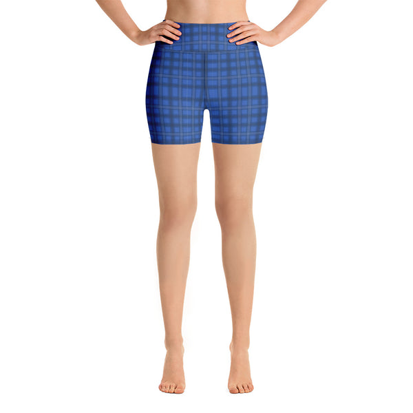 Royal Blue Plaid Yoga Shorts, Preppy Tartan Print Workout Gym Tights, Premium Quality Women's High Waist Spandex Fitness Workout Yoga Shorts, Yoga Tights, Fashion Gym Quick Drying Short Pants With Pockets - Made in USA/EU/MX (US Size: XS-XL) Yoga Bottoms, Yoga Clothes, Activeweaar, Best Women's Yoga Shorts, Women's Athletic Shorts, Running, Workout, Yoga Tights